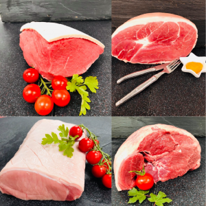 Grouping of four pictures showing beef topside joint, pork loin joint, gammon joint, and boneless leg of lamb